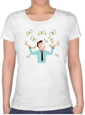 Para Babası Kendin Tasarla - Bayan U Yaka Tişört