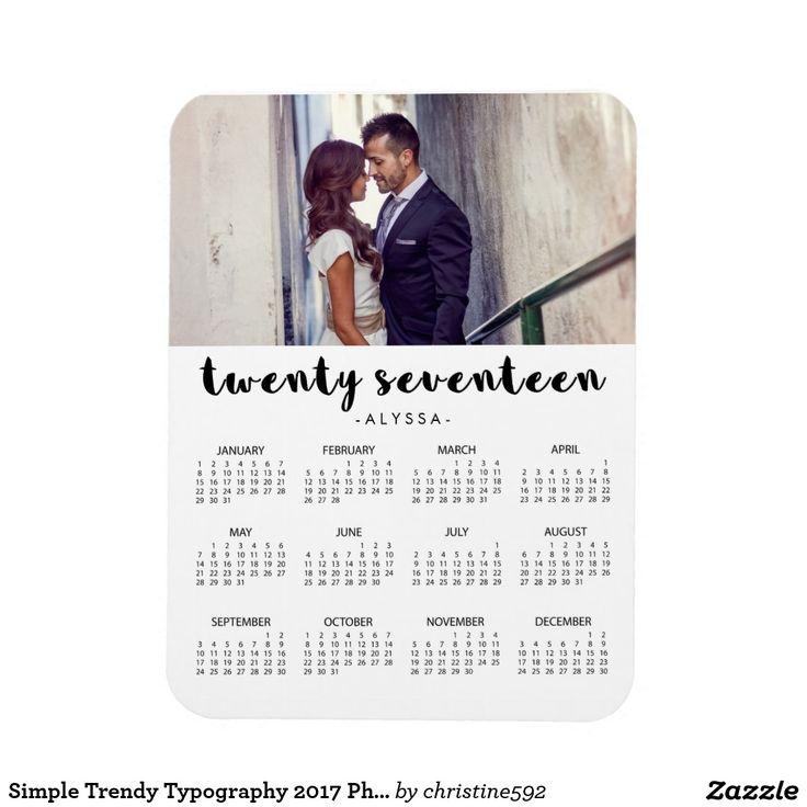 Simple Trendy Typography 2017 Photo Calendar