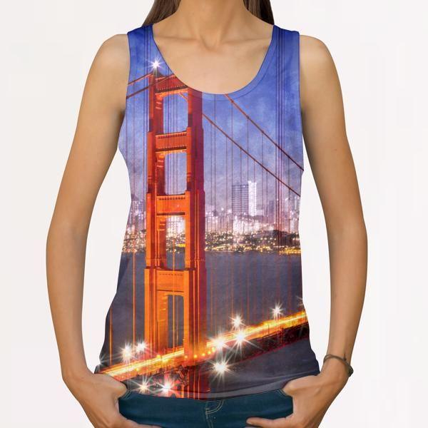 City Art Golden Gate Bridge Composing All Over Print Tanks by Melanie Viola