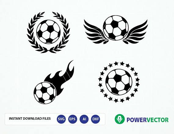 Svg File Soccer Team Logo Vector Soccer Balls Svg Dxf Png Eps Soccer Ball Flame Wings Laurel Wreath Clipart Team Logo Svg Vector Logo Emblem Logo Soccer Balls