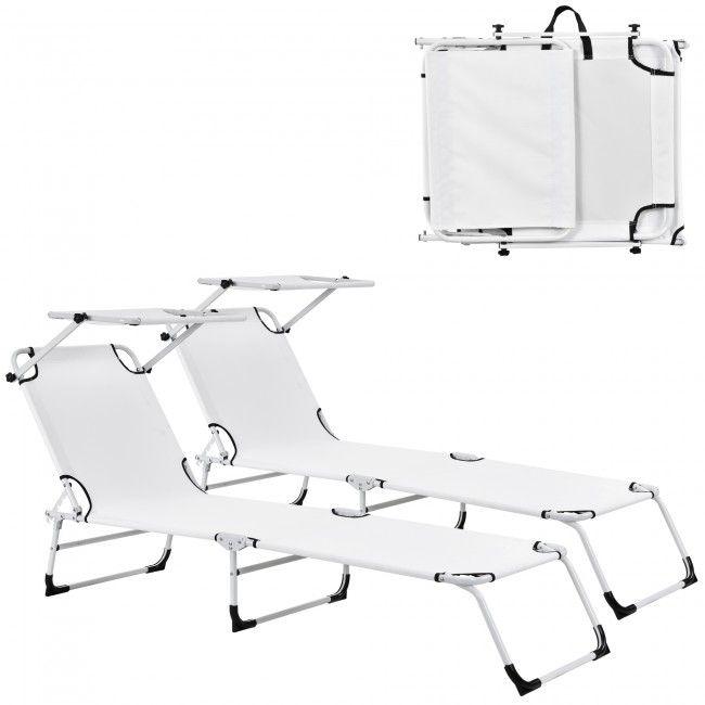 [casa.pro] Sonnenliege [2er Set] klappbar 190cm weiß mit Dach Relaxliege Aluminium