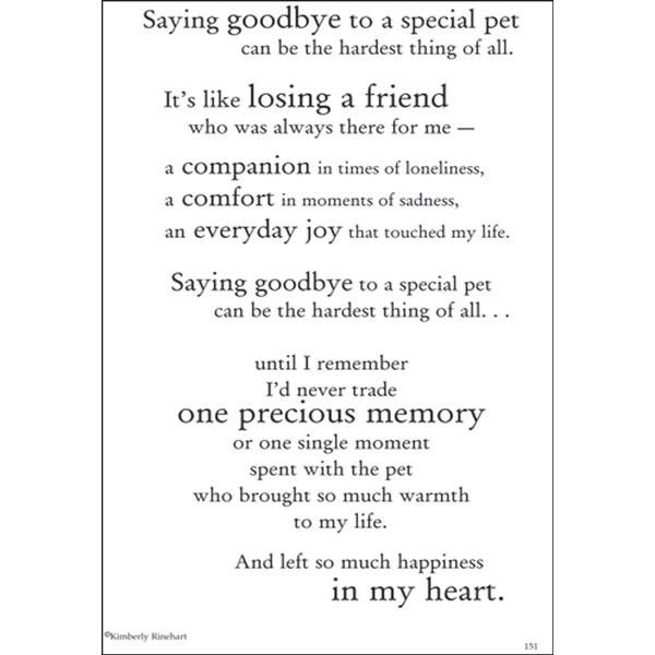 Dinglefoot's Scrapbooking - Loss Of A Pet - Poem For A Page Sticker, $1.40 (http://www.dinglefoot.com/loss-of-a-pet-poem-for-a-page-sticker/)
