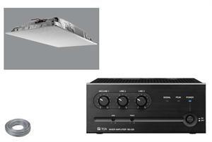 The AV7420 speaker system includes a 2x2 ceiling tile speaker, 20W desktop amp and 50' of speaker wire for a complete audio solution.   http://dukaneav.com/av7420.aspx