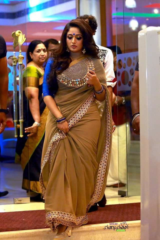 Malayalam actress Kavya Madhavan in a Laksyah saree. Pretty!