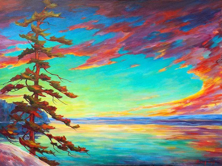 Muskoka Sunset par Micheal Foers, artiste présentement exposé aux Galeries Beauchamp. www.galeriebeauchamp.com