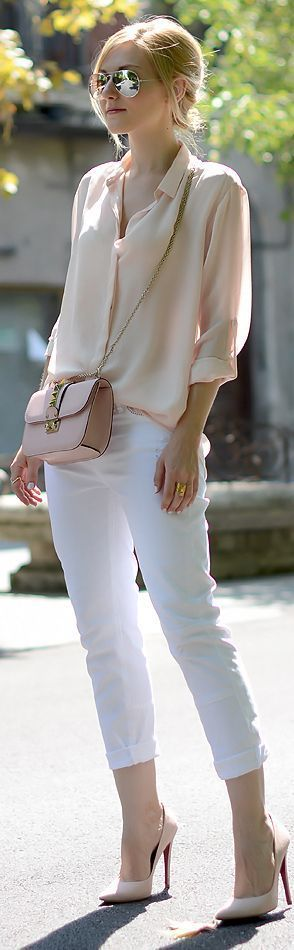 Spring / Summer - street chic style - party style - light pink or nude chiffon shirt nude messenger bag white cropped skinnies nude stilettos aviators