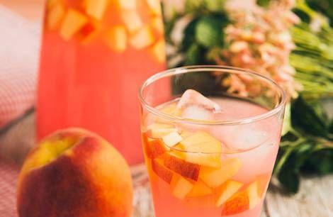 ... Ice Cubes, Summer Drinks, Peaches Lemonade, Peach Lemonade, Pink