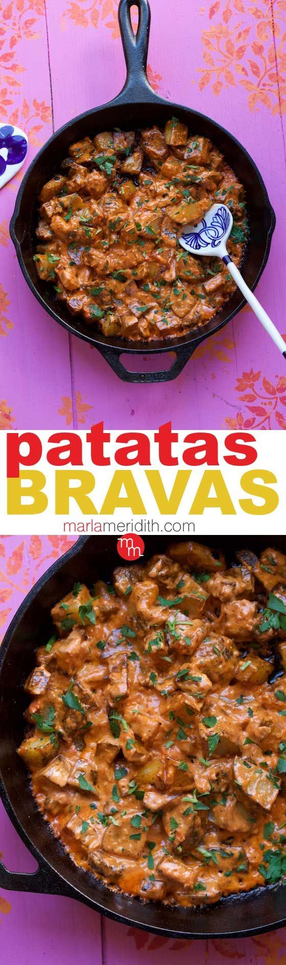 Patatas Bravas: This Spanish bar snack is one of the best things I've ever eaten! #recipe MarlaMeridith.com #potato