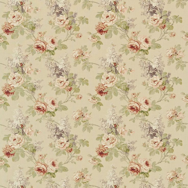 Sorilla (DBARSO126) - Sanderson Fabrics - A vintage floral design originating from France, a contemporary classic in tumbled linen in fresh natural hues and vintage tones. Shown in the Biscuit / Claret colourway. Please request sample for true colour match.
