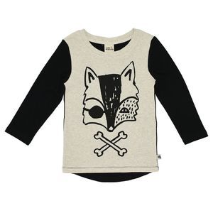 Pirate Fox Black Sleeve Tee