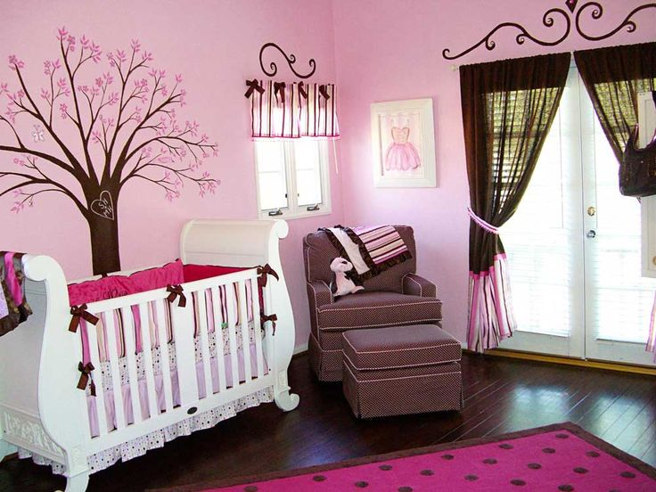 Drawing Room Painting Idea with rectangular white wooden cribs and brown pink loose curtains also with pink fabric easy chairs charming decorations with painting polka dot