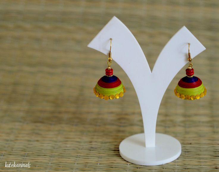 Handmade Quilled Jhumka Earrings Multicolor Magic   eBay