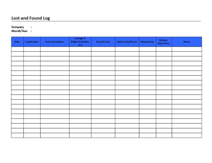 Lost_And_Found_Log.Doc - Lost And Found Log List | Templates