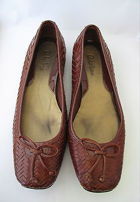 Cole Haan Brown Leather 'Gwenythe' Woven Slip on Bow Flats Women's Shoes  Size 7