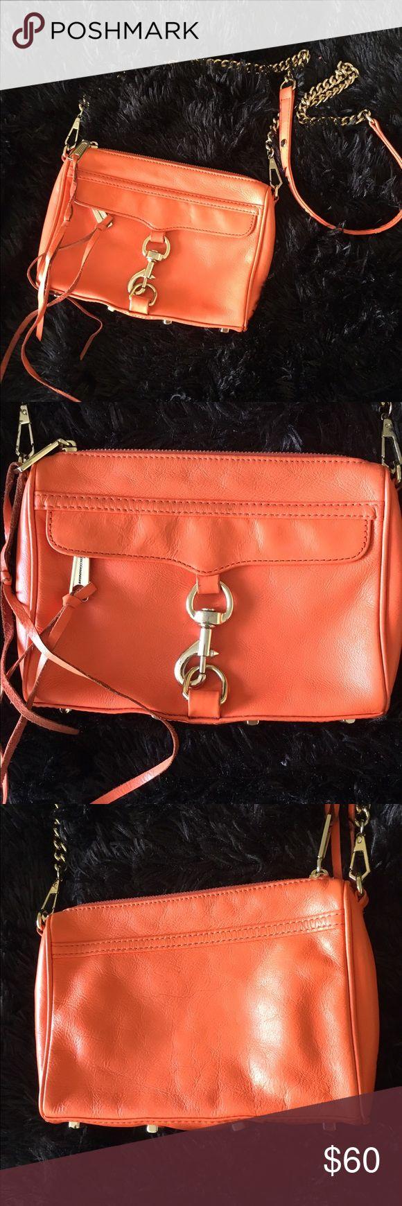 Rebecca Minkoff orange Mab purse Adorable medium Rebecca Minkoff orange mab crossbody. Very good condition. Inside has a few scuffs. Gold hardware. Rebecca Minkoff Bags Crossbody Bags