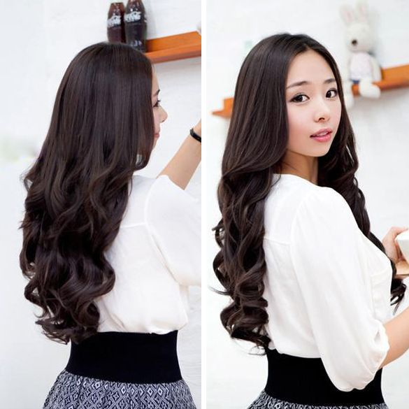 Width 25cm Lady Sexy Stylish Long Curl Wavy Clip-on Hair Extension HB88