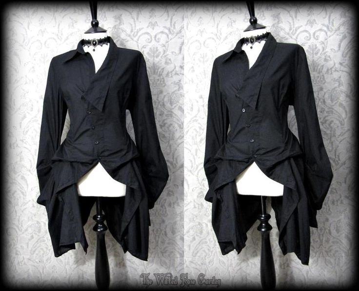 Dark, dramatic black shirt with hitched / bustle effect draping ~. quirky asymmetric collar and buttoned front ~. Next size 12 ~. unusual extra long sleeves with gathered curved and puffed cuffs ~. Gorgeous statement piece, will suit many alternative styles and occasions. | eBay!