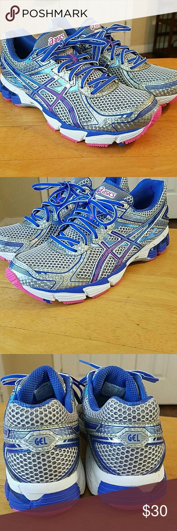 Asics ladies Doumax GEL size 9 Asics ladies running shoes in near mint condition only worn a few times. These were my wife's and she only wore that at the gym. Nothing wrong with these shoes at all.  The colors are silver blue and pink. Asics Shoes Sneakers