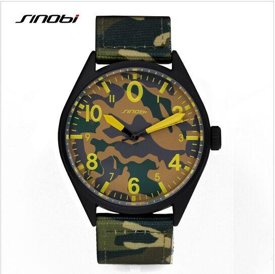 SINOBI Military Watch Men Luxury Brand Camouflage Nylon Watches Air Force Army Waterproof Quartz Watch Hour Relogio Masculino