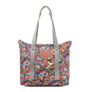 Kim Printed Tote Bag - Our newest gym tote is crafted with your work-out must haves in mind. Front straps hold your yoga mat in place, side pockets store shoes or a water bottle and interior clear pouch is great for separating your change of clothes from your wet swimsuit