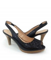 El Toro - Womens pebble-textured glossy black wood-grain slingback peeptoe mid heels  $99.00  #shoeenvy #shoes #fashion #instalove #pretty #ethical #glamorous