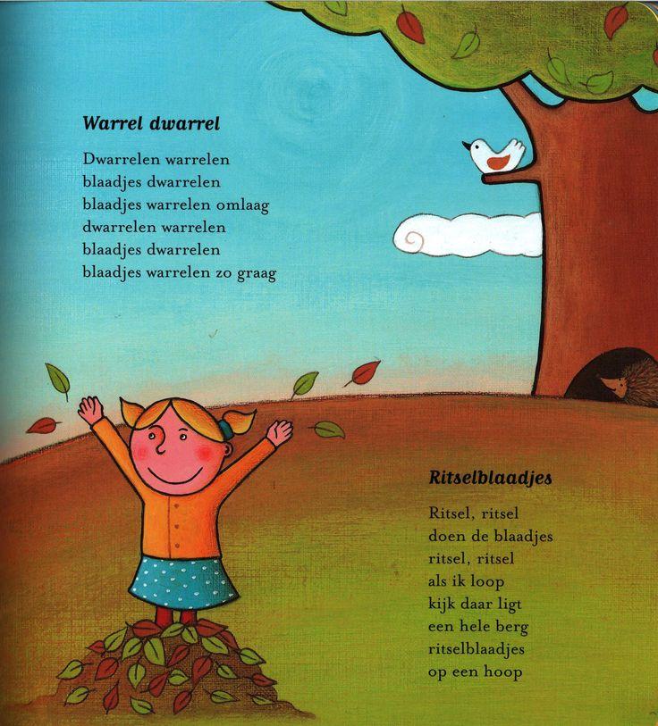 Versje 'Warrel dwarrel' en 'Ritselblaadjes' uit het versjesboek 'Seizoentjes'. Auteur Elly van der Linden; Illustrator Debbie Lavreys; Uitgeverij Clavis