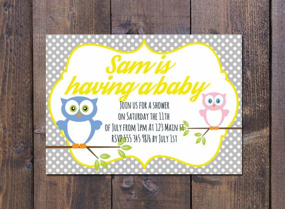Owl baby shower. Can be customized with different colours