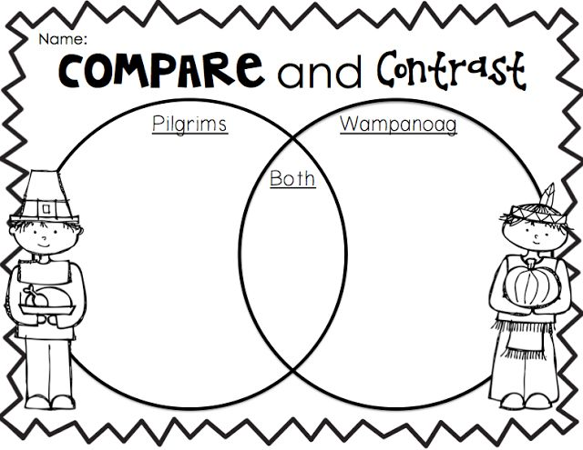 Compare and contrast worksheets for first graders