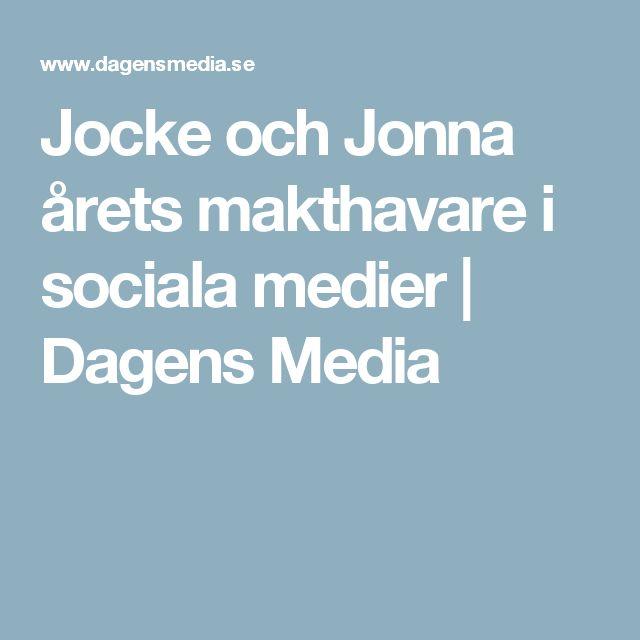 Jocke och Jonna årets makthavare i sociala medier | Dagens Media