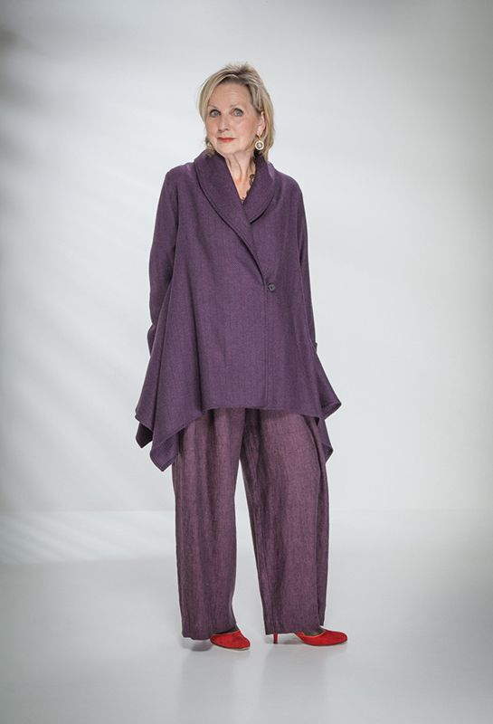 London Jacket in wool £385 (Purple/Black herringbone) over New Width linen Trousers £225.