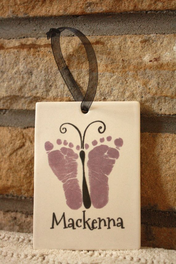 Baby footprint art Butterfly. Porcelain by MyForeverPrints on Etsy