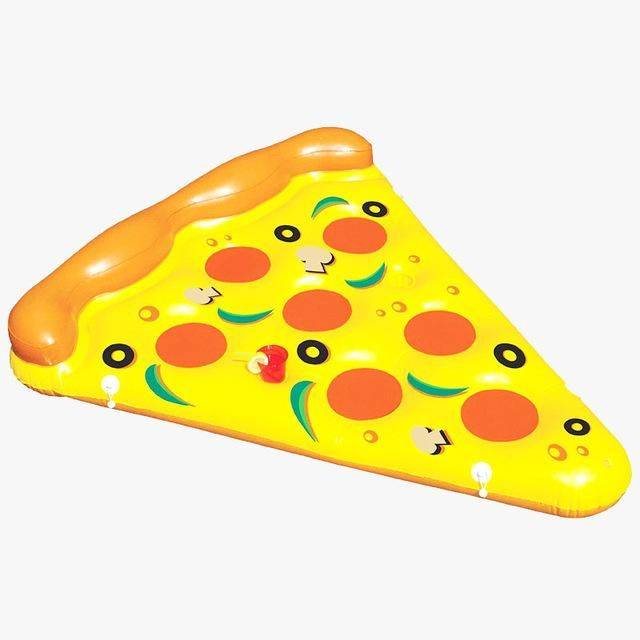 180*145 Water Toy Summer Holiday Float Bed Inflatable Pizza Slice Floating Bed Swimming Pool Water Lounge Seat Air Mattress Raft