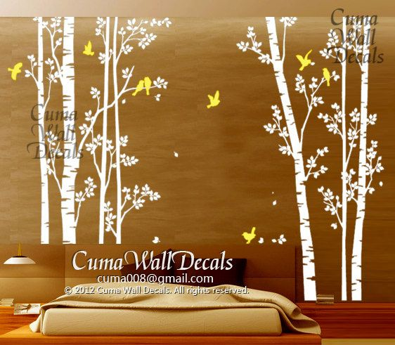 tree wall decals birds nature forest Vinyl wall decals by cuma