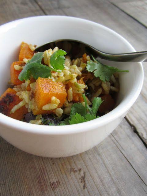 mia cara timo limone: zucca arrosto + insalata di riso marrone w / coriandolo speziato condimento ricetta