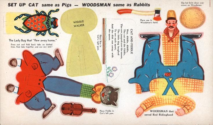 Mother Goose and other Popular Characters - Cat and Fiddle and Woodsman from Little Red Ridinghood