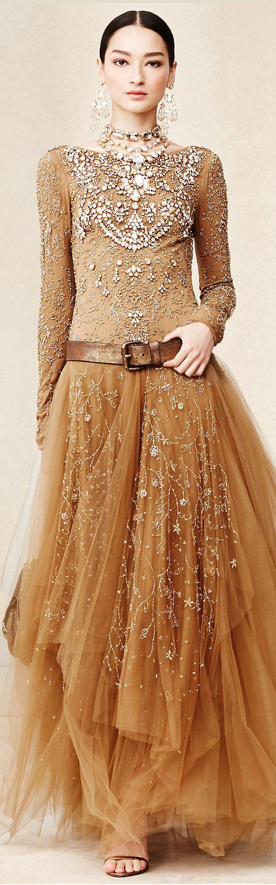 Ralph Lauren ~ Clear Sequinned  Caramel Tulle Maxi Dress
