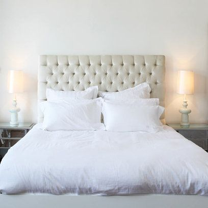 A Deep Buttoned Headboard Adds Texture And Shade To This All White Bedroom. Bedroom  Decorating IdeasInterior ...