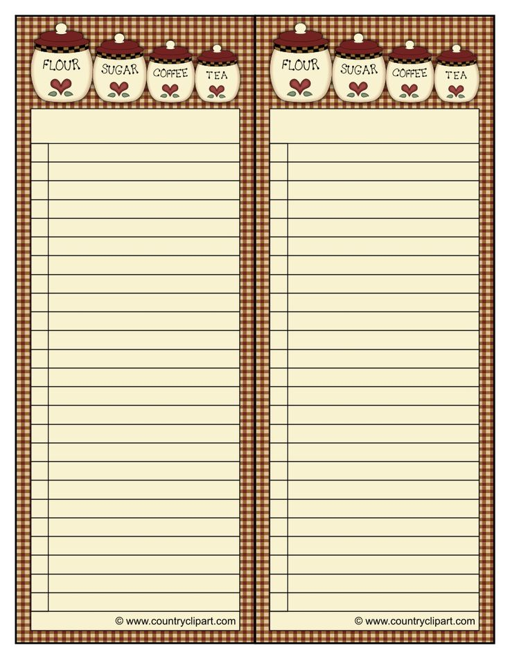 list paper for shopping to-do or any kind of lists with gingham and kitchen flour sugar coffee and tea canisters