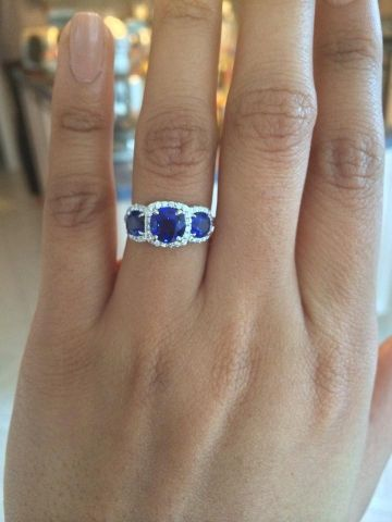 3 stone sapphire diamond halo by Joe Escobar