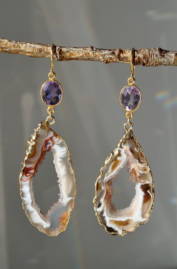 Geode Earrings  Geode Jewelry  Amethyst Dangle by MamacitaStudios, $65.00