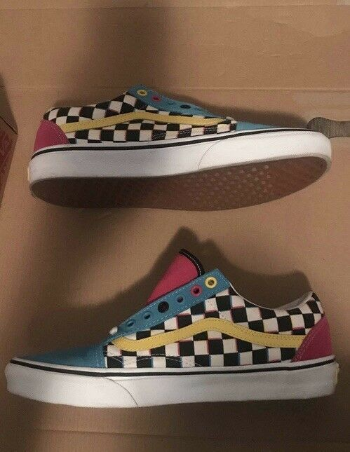 exclusive range world-wide selection of moderate price Vans Old Skool Crazy Checks CMYK Multi Pink Yellow Blue ...