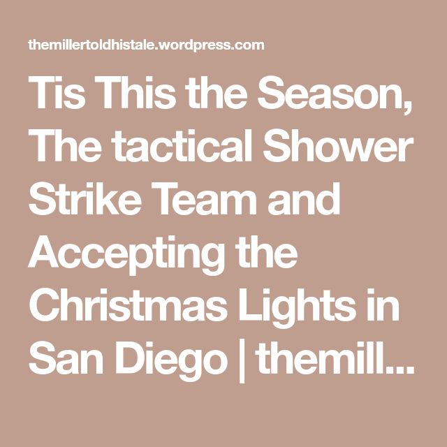 Tis This the Season, The tactical Shower Strike Team and Accepting the Christmas Lights in San Diego | themillertoldhistale