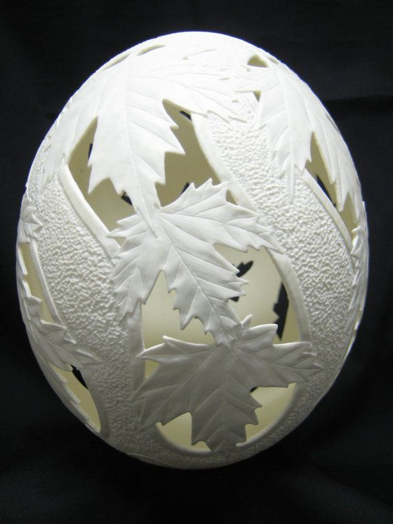 Hand Carved Ostrich Egg Dried Gourds And Eggs