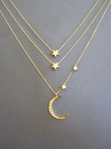 Madre e due figli, Crescent Moon Collana, collana a doppio strato, ti amo per la luna e la schiena, madre figlia, Multi Layerr