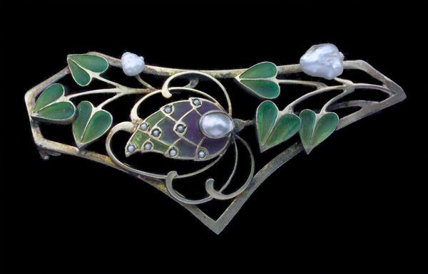 DATABASEJugendstil Brooches, Art Nouveau, Leving, Brooches Gilded, Plique À Jour Pearls, Silver Plique À Jour, Bissing Attrib, Gilded Silver, Bissing Brooches