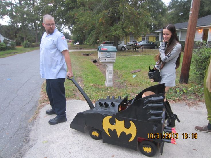 Batmobile made from cardboard and little tykes wagon