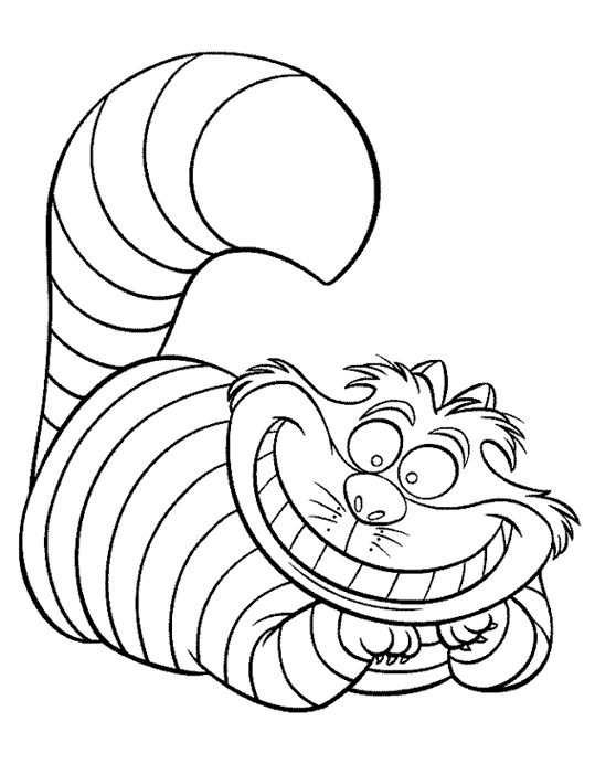 alice in wonderland cheshire cat smile coloring pages for kids printable alice in wonderland coloring pages for kids - Cheshire Cat Smile Coloring Pages
