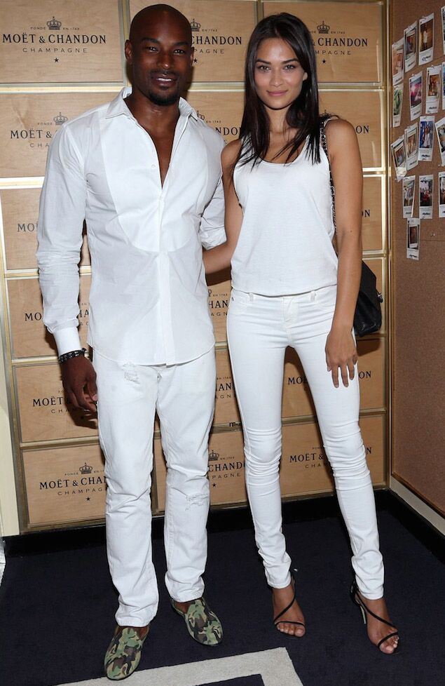 Tyson Beckford Wearing The Green Camo Slipper White Outfit For Men White Party Attire All White Mens Outfit