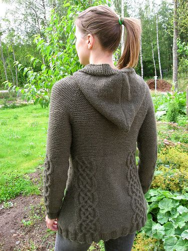 """Ravelry: 109-3 jacket in """"Alaska"""" with cables, raglan sleeves and hood pattern by DROPS design"""
