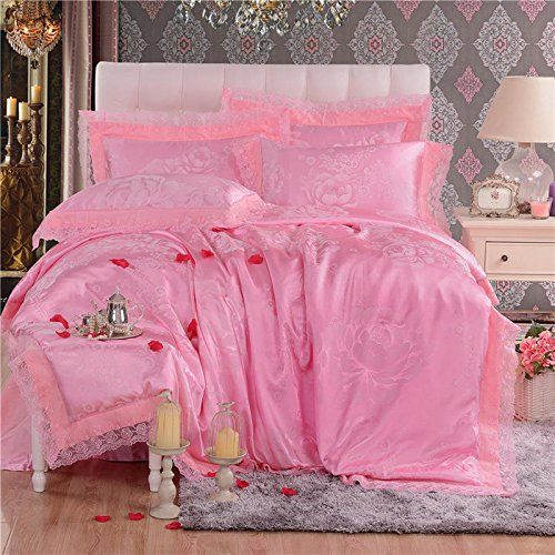 L02 Fancy Violet Color Bedding Sets 4pcs Luxury Jacquard Damask
